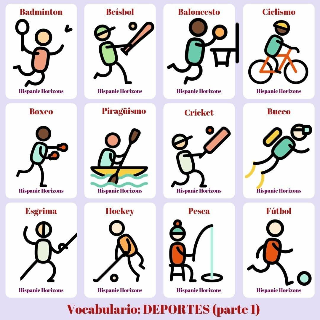 Vocabulario de deportes, A1 y A2